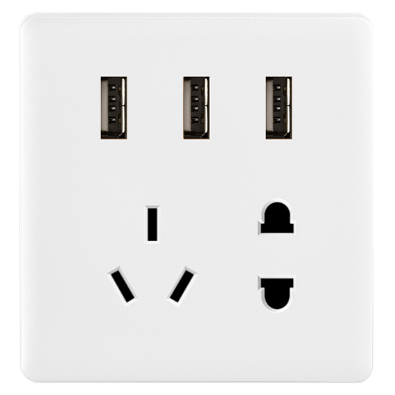 深圳奇勝、Q6  超大板開關   二三插帶USB(白色)