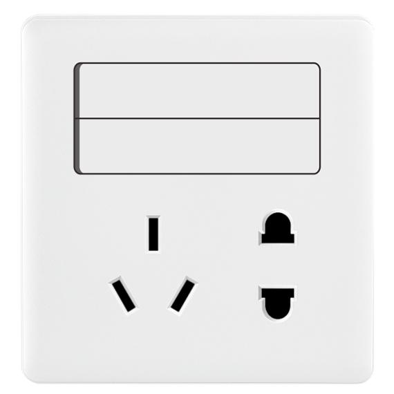 深圳奇勝、Q6  超大板開關   (二位單控二三插、二位雙控二三插)(白色)